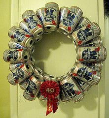Recycled Christmas Decorations: Pabst Blue Ribbon beer can wreath of AWESOMENESS. If this was lite beer, would this be considered a lighted wreath? Redneck Christmas, Christmas Wreaths, Christmas Crafts, Christmas Decorations, Beer Can Christmas Tree, Outdoor Christmas, Christmas Ornament, Ornaments, White Trash Party