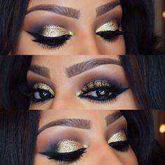 ".@makeupshayla | Gold Glittery NYE Eye's✨ @Sugarpill Cosmetics ""goldilux"" eyeshadow on the lid..."