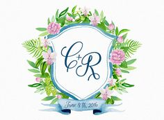 Custom watercolor crest hand painted, wedding crest, monogram, family crest, digital