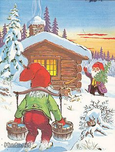 WIMO Scandi Christmas, Christmas Crafts, David The Gnome, Old Cartoons, Forest Animals, Fairy Land, Old Postcards, Leprechaun, Craft Activities