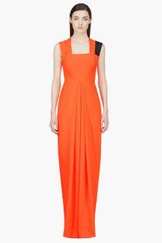 ROKSANDA ILINCIC Fluorescent Orange Woven-Strap Anaress Dress