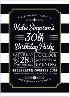 Roast And Toast Retirement Milestone Birthday INVITATION - Black and white 30th birthday party invitations