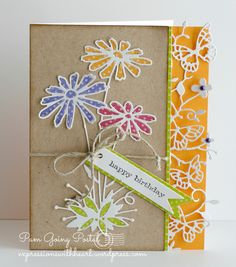 Outside the Box/Memory Box: Glorious Gerber Daisies All Dressed Up in Distress Dots paper…