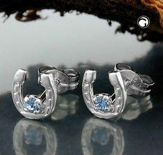 Stecker, Hufeisen Glas-blau Silber 925