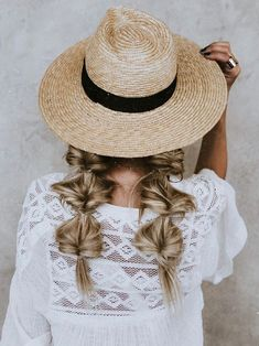 Braids and sun hat