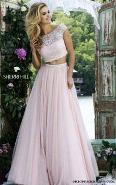 Blush 2016 Cap Sleeve Two Piece Sherri Hill 50038 Prom Gown
