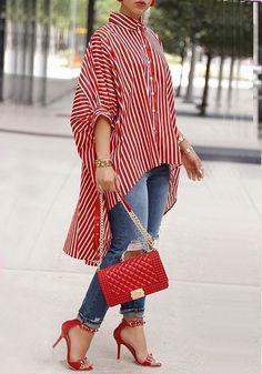 Shop Striped Print Batwing Sleeve Dip Hem Loose Blouse – Discover sexy women fashion at IVRose Trend Fashion, Look Fashion, Womens Fashion, Ladies Fashion, Fashion Ideas, Fashion Images, Fall Fashion, Fashion Usa, Older Women Fashion