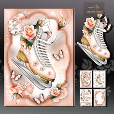Vintage Skates with Peach Roses Card Kit on Craftsuprint designed by Atlic Snezana - Vintage Skates with Peach Roses Card Kit: 4 sheets for print with decoupage for 3D effect plus few sentiment tags (for your own personal text) - Now available for download!
