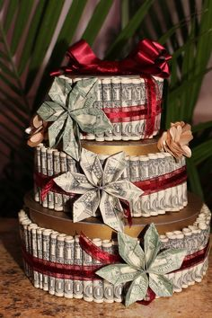 Money Cake, with Money Flowers made with REAL 1 dollar and 2 dollar bills