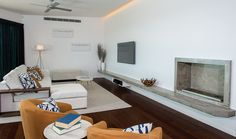 Love the concrete bench and fireplace in one Home, Contemporary Rug, Concrete Bench, Prize Homes, Home Decor