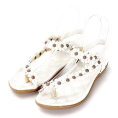 High-quality Big Size Knitting Beaded Strappy Buckle Peep Toe Flat Chunky Heel Sandals - NewChic Mobile.