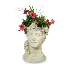 Garden Goddess Head Planter ($158) ❤ liked on Polyvore featuring home, outdoors, outdoor decor, fillers, flowers, decor, furniture, garden decor, antique planter and flower stem
