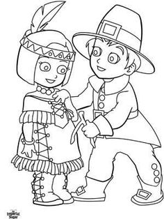 pilgrim and indian coloring pages | 34 Best Thanksgiving Crafts, Printables & Gift Ideas ...