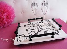 DIY tray by PartyPatisserie.com...like the drawer pulls as handles.