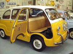 FIAT 600 Multipla - one of the smallest vans ever built. Fiat 600, Vmax, Motos Vintage, Bmw Isetta, Auto Retro, Car Camper, Miniature Cars, Yellow Car, Ford Classic Cars