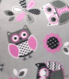Blizzard Fleece Fabric Printed Owls