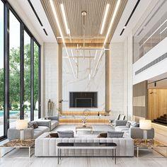 High Ceiling Living Room Modern, Elegant Living Room, Home Living Room, Living Room Designs, Luxury Interior, Interior Design, Luxury Homes Dream Houses, Interior Rendering, Modern House Design