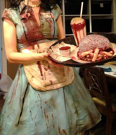 Zombie diner waitress costume progress pic