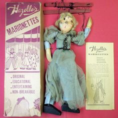 EARLY #HAZELLES #MARIONETTE NO. 207-#FAIRY. I bought this 80-year-old #puppet with paint chips because the #box is fairly #rare, and it is in better condition than examples in my #collection. I was so excited when I found that it came with a #1936 Hazelles's #product #brochure and two original #plays -- the oldest I have now.