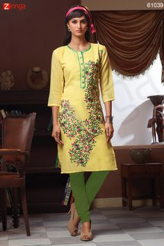 Yellow Color with Butta Work Incredible Readymade Kurti. Message/call/WhatsApp at +91-9246261661