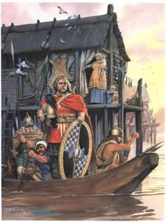 Celtic warriors by Angus McBride. Could this be a glimpse of the Seiont /Segontium dock just days after the Romans departed?