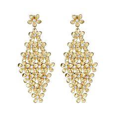 Blu Bijoux Golden Flower Chandelier Earrings Blu Bijoux ($28) ❤ liked on Polyvore featuring jewelry, earrings, accessories, brincos, fashion jewelryearrings, women, chandelier jewelry, blu bijoux, earrings jewelry and flower shaped diamond earrings