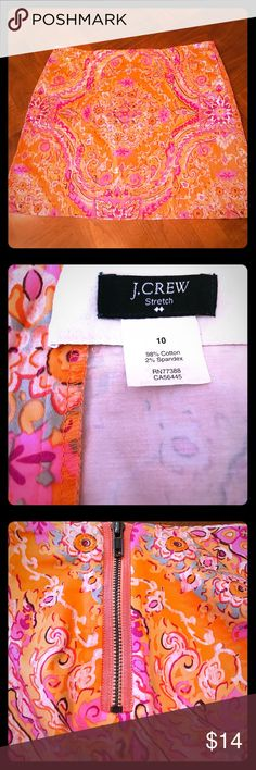 "NWOT J. Crew Mini Skirt NWOT J. Crew mini skirt with vibrant pink and orange pattern. So adorable for summer! 98% cotton, 2% spandex. Length is 15.5"". Size 10. J. Crew Skirts Mini"