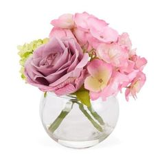 """6"""" Artificial Rose/Hydrangea in Glass Vase ($20) ❤ liked on Polyvore featuring home, home decor, floral decor, floral arrangement, artificial arrangement, floral home decor, rose arrangement and hydrangea flower arrangement"""