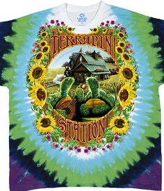 Liquid Blue Grateful Dead Terrapin Station Tie Die T-Shirt Tee. This Grateful Dead T-shirt is a celebration of the song and the album Terrapin Station, a multi-layered epic. The artwork was done by Richard Biffle, meaning it's outstanding. And if you're worried about shrinkage...don't. All Liquid Blue Dead Tie Dies are pre-shrunk and 100% heavyweight cotton.