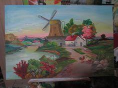 #sueño  #paisaje #paraíso #oleo #art  #molino #río    #atardecer