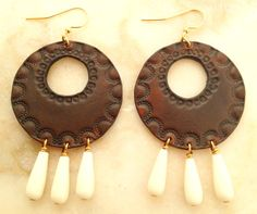 Leather Earrings with Magnesite Beads by TILTadornments on Etsy, $34.00
