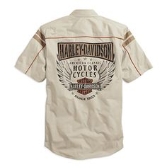 Khaki never goes out of style. This neutral khaki tan and orange shirt is a great addition to any closet. Available at Bourbeuse Valley Harley-Davidson® Motorcycle Style, Motorcycle Outfit, Biker Style, Motorcycle Fashion, Harley Shirts, Harley Gear, Harley Davison, Best Bike Shorts, Harley Davidson Merchandise