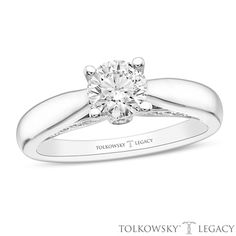 Tolkowsky®+Legacy+7/8+CT.+T.W.+Certified+Diamond+Engagement+Ring+in+14K+White+Gold+(I/SI2)