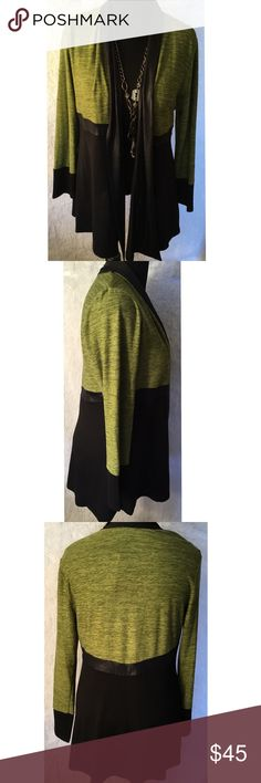 Black/Green Cardigan Classic an chick  with this classy long sleeve cardigan, material 80% polyester 15% rayon 5% spandex, long sleeve, knit cover lime, Lanalee Sweaters Cardigans