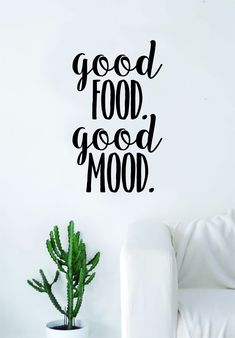 Good Food Good Mood Quote Decal Sticker Wall Vinyl Art Wall Room Decor Funny Inspirational Teen - gold