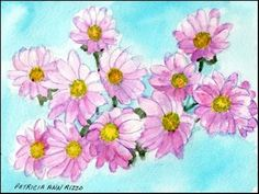 """Daily Paintworks - """"Pink Daisies"""" - Original Fine Art for Sale - © Patricia Ann Rizzo"""