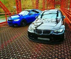 BMW E92 M3 black and F30 3 series blue