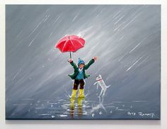 "Bwrw glaw: ""Fun in the Rain"" by Pete Rumney I Love Rain, Rain Painting, Rain Art, Umbrella Art, New York Art, Poster, Buy Art, Art Drawings, Contemporary Art"