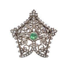 "Antique diamond and emerald foliate pin 19th Century 1,65""diam. 18gr weight  1,435$"