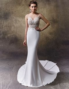 Vintage + glam wedding dress - this full-length mermaid stunner is sophisticated and sexy with a deep V-neckline on a bodice of delicately beaded Chantilly lace, GT chiffon and thin beaded spaghetti straps. Style Laurie by Wedding Bridesmaid Dresses, Bridal Dresses, Wedding Gowns, Elegant Wedding Dress, Cheap Wedding Dress, Happy Brautmoden, Hollywood Glamour Wedding, Mermaid Gown, Beauty