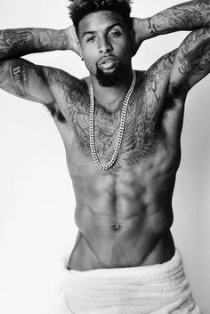 It's no surprise that Odell Beckham Jr. feels comfortable in his own skin, especially when in front of the lens of photographer Mario Testino. Most Beautiful Man, Black Is Beautiful, Gorgeous Men, Beautiful People, Mario Testino, Trey Songz, Big Sean, Rita Ora, Hot Black Guys