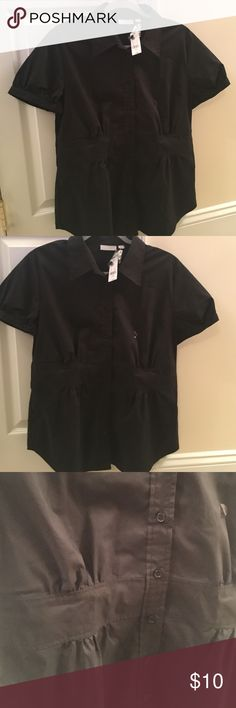 NWT black button down NWT Black short sleeve button down. Very flattering! New York & Company Tops Button Down Shirts