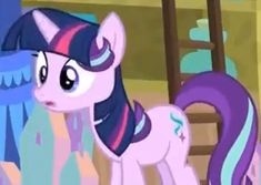 Starlight Glimmer is cute when she is wearing a Twilight Sparkle wig!