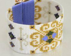 Renaissance Frozen Style Wide Cuff Bead Loom Bracelet Artisanal Jewelry Disney Motif Western Beaded Gypsy Boho Bohemian Gold Pearl