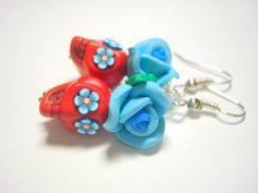 Red and Turquoise Day of the Dead Rose and Sugar Skull Earrings by PennysLane, $8.50