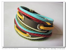 Adjustable Bracelet Cuff made of Soft Leather by sevenvsxiao, $10.50