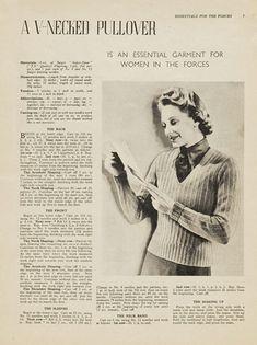Free 1940's Knitting - A V-necked Pullover Land Girl Jumper pattern