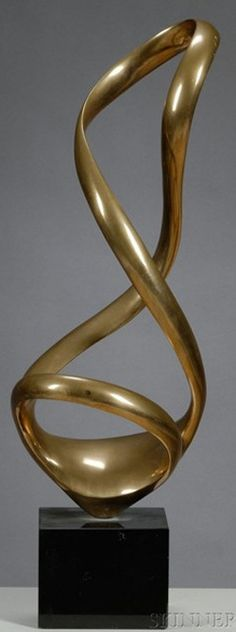 Bronze Sculpture; Kieff (Grediaga Antonio), signed, Abstract Freeform Twisting Ribbon, 20 inch.