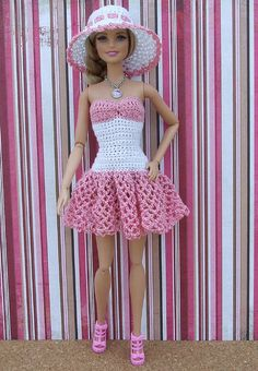 Best 11 Ravelry: Miss Santa for Barbie pattern by Oksana Lifenko – SkillOfKing. Crochet Barbie Patterns, Crochet Doll Dress, Crochet Barbie Clothes, Doll Clothes Barbie, Barbie Dress, Knitted Dolls, Doll Clothes Patterns, Clothing Patterns, Barbie Doll