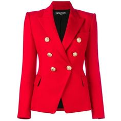 Balmain Stretch Viscose Jacket ($1,410) ❤ liked on Polyvore featuring outerwear, jackets, blazer jacket, balmain blazer, red double breasted blazer, stretch jacket and balmain